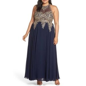 Xscape Plus Size Embroidered Gown - Navy/Gold